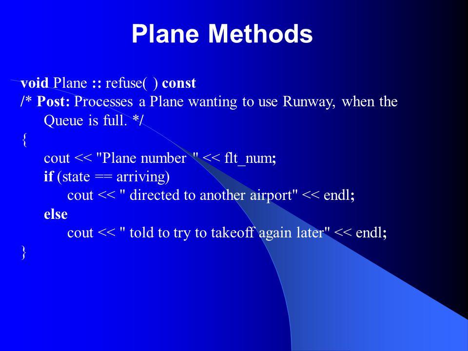 Plane Methods void Plane :: refuse( ) const
