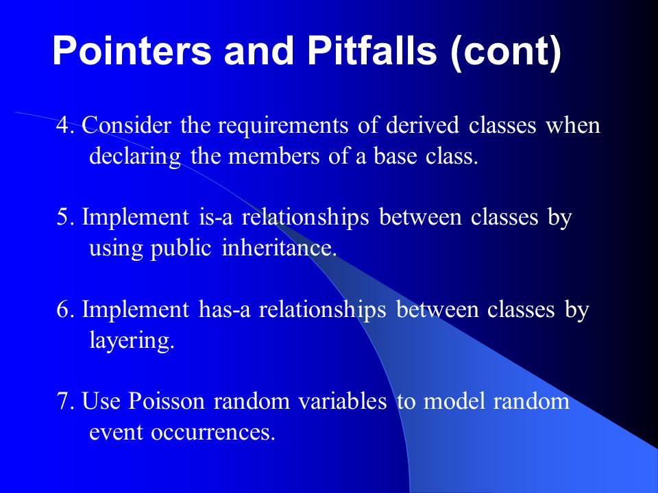 Pointers and Pitfalls (cont)