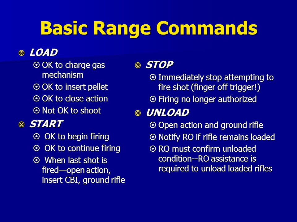 Basic Range Commands LOAD STOP START UNLOAD OK to charge gas mechanism
