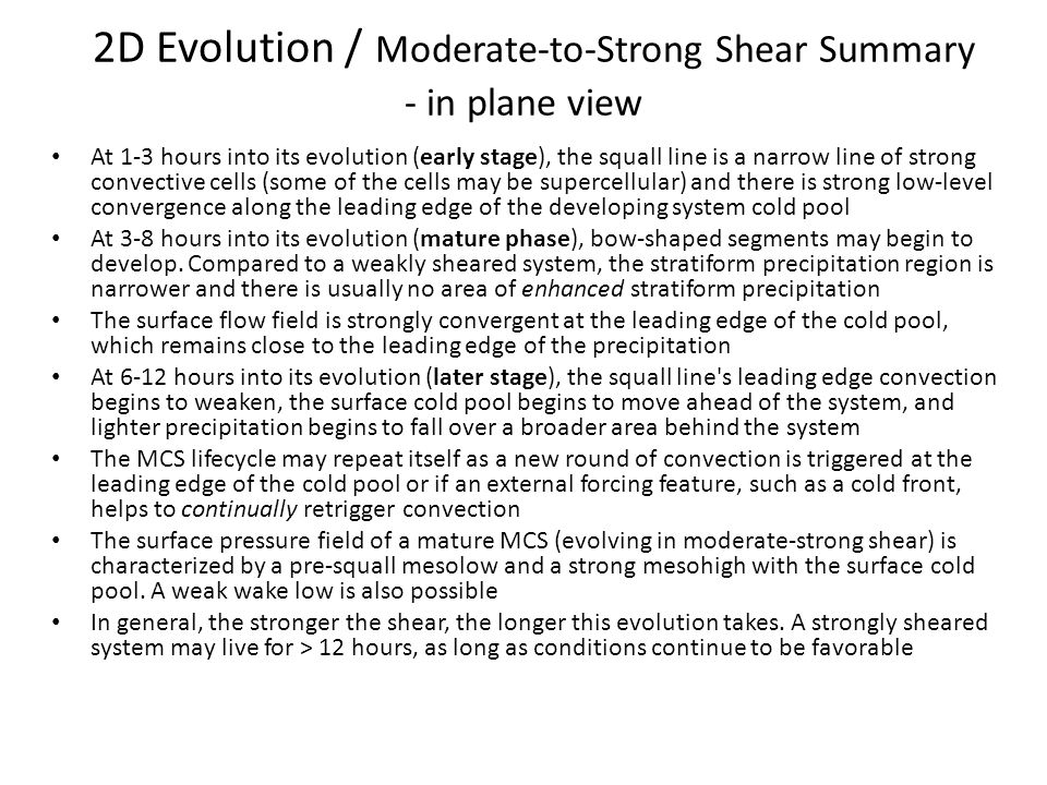 2D Evolution / Moderate-to-Strong Shear Summary - in plane view