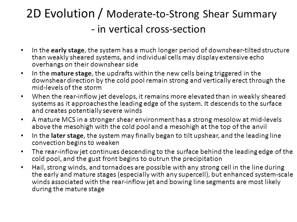 2D Evolution / Moderate-to-Strong Shear Summary - in vertical cross-section