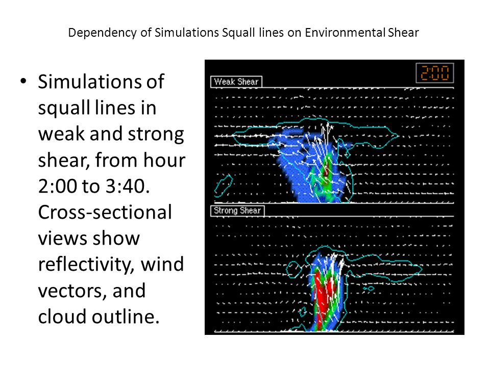 Dependency of Simulations Squall lines on Environmental Shear