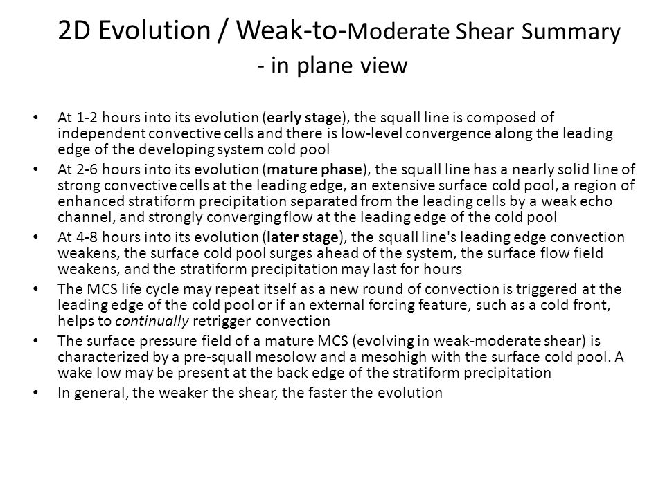 2D Evolution / Weak-to-Moderate Shear Summary - in plane view