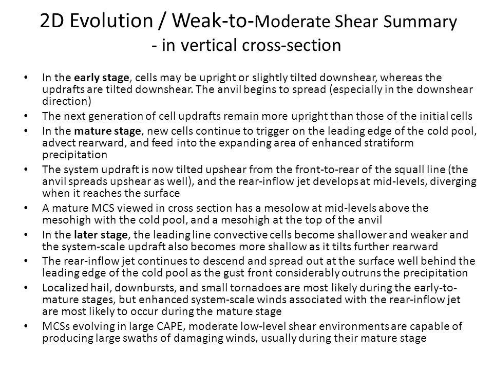2D Evolution / Weak-to-Moderate Shear Summary - in vertical cross-section