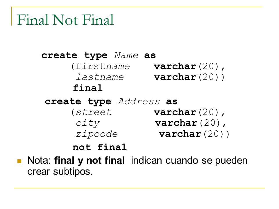 Final Not Final create type Name as (firstname varchar(20), lastname varchar(20)) final.