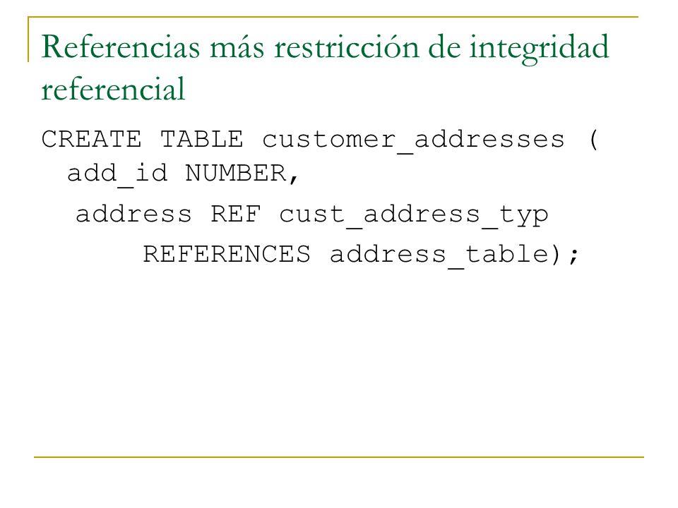 Referencias más restricción de integridad referencial