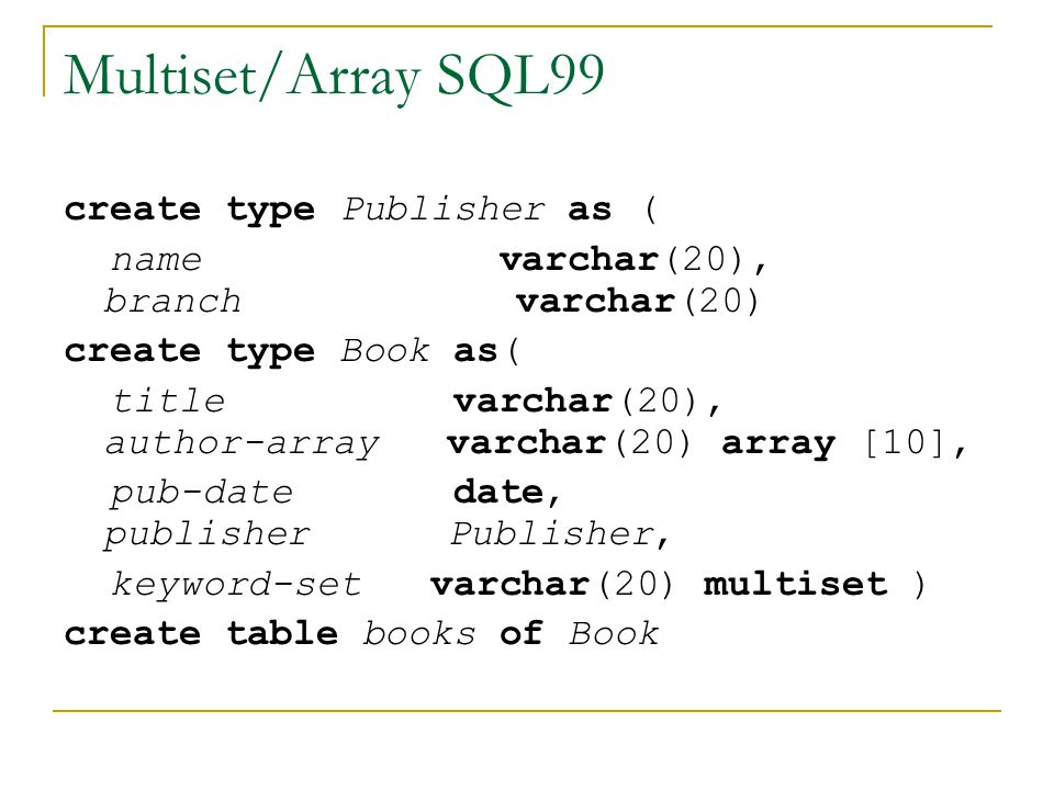 Multiset/Array SQL99 create type Publisher as (