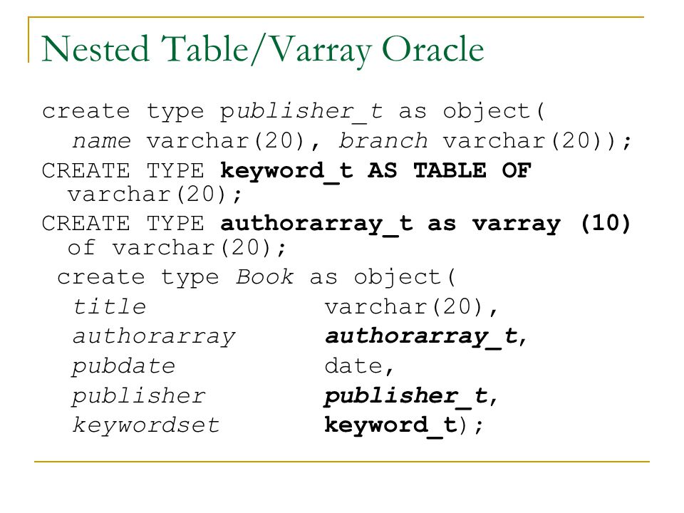 Nested Table/Varray Oracle
