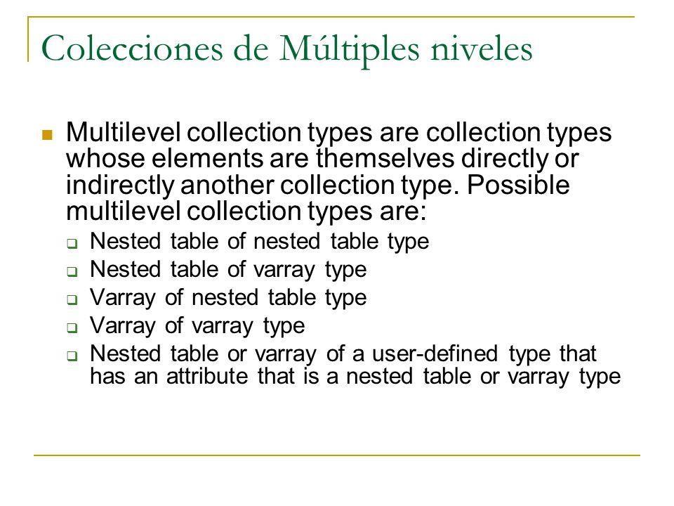 Colecciones de Múltiples niveles