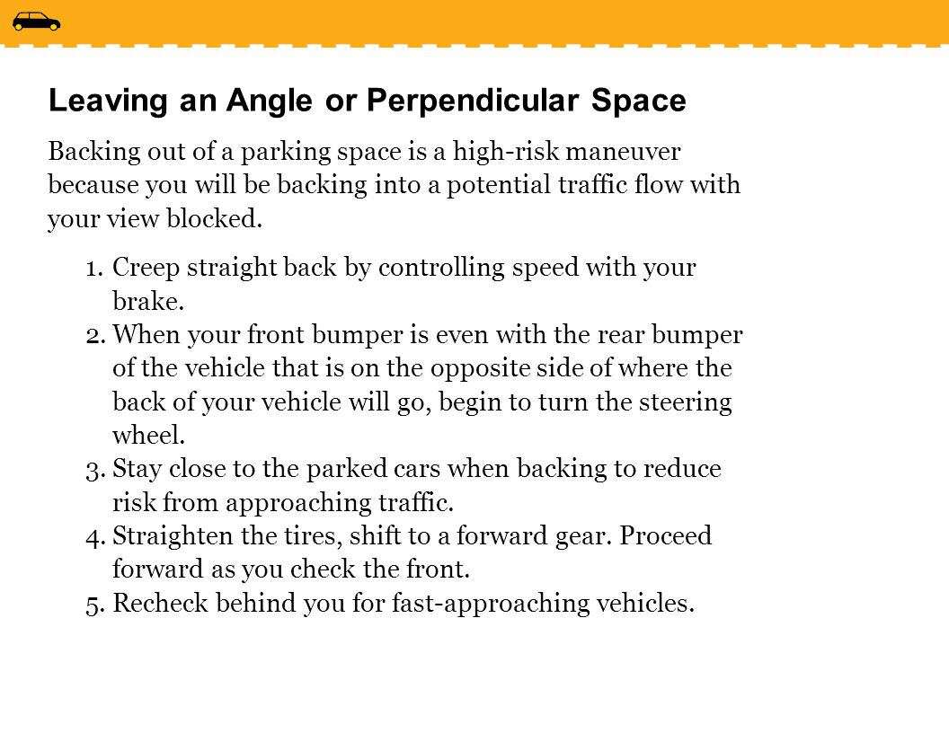 Leaving an Angle or Perpendicular Space