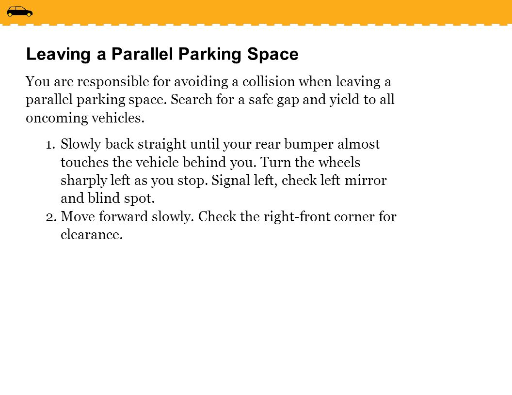 Leaving a Parallel Parking Space