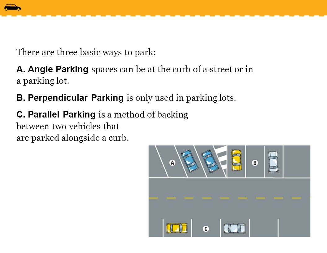 There are three basic ways to park:
