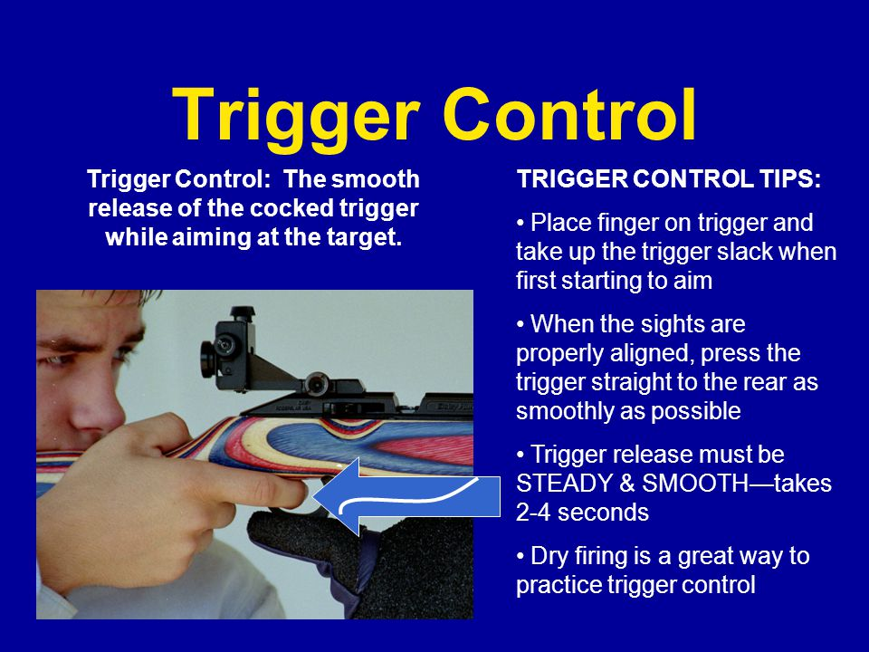 Trigger Control Trigger Control: The smooth release of the cocked trigger while aiming at the target.