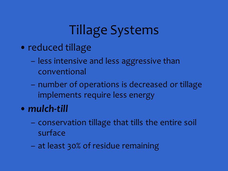 Tillage Systems reduced tillage mulch-till