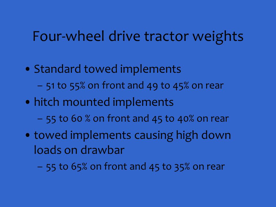 Four-wheel drive tractor weights