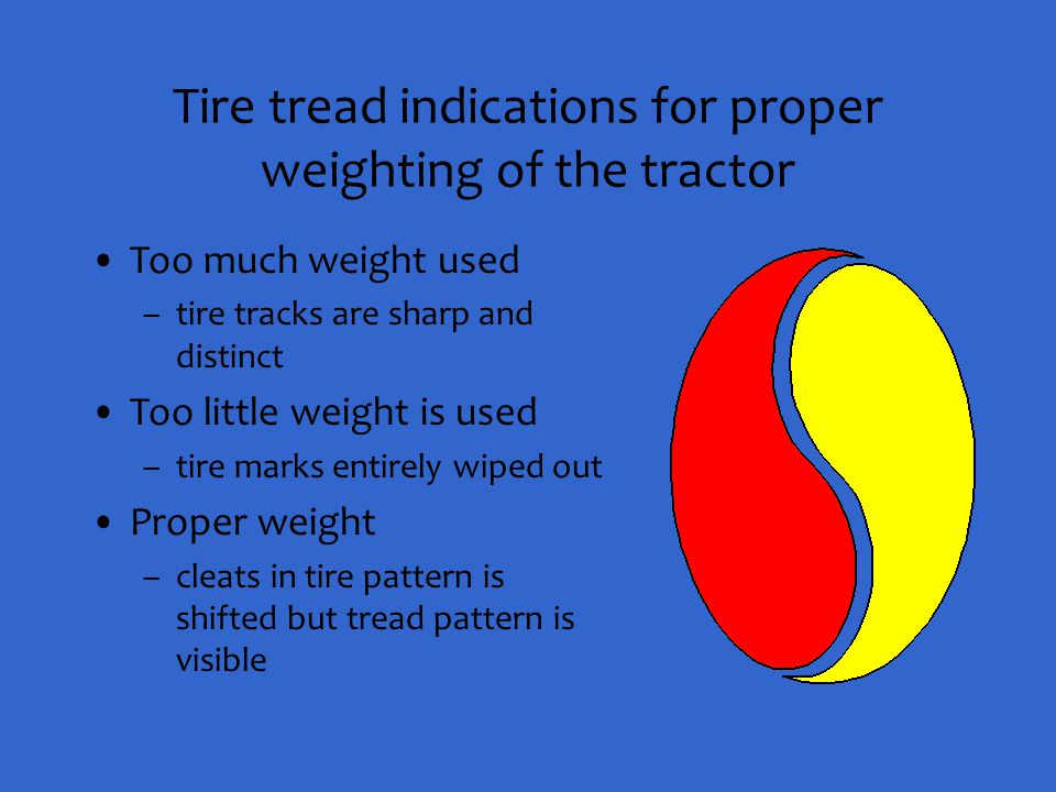 Tire tread indications for proper weighting of the tractor