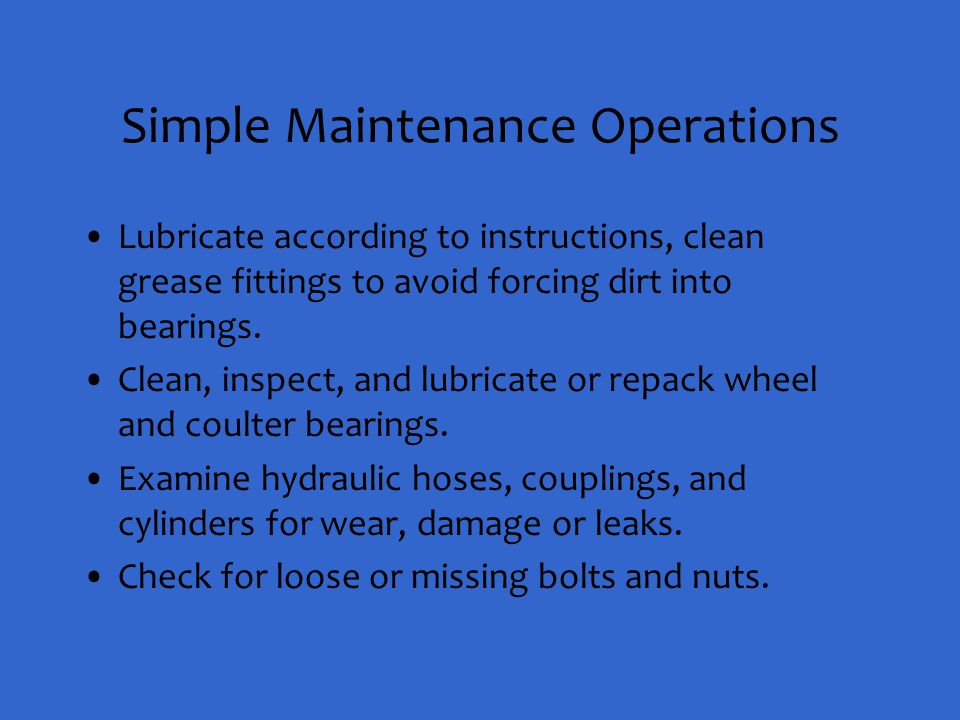 Simple Maintenance Operations