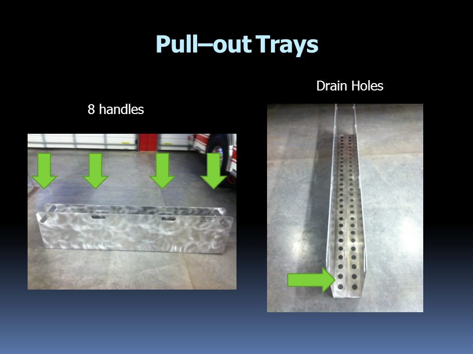 Pull–out Trays Drain Holes 8 handles