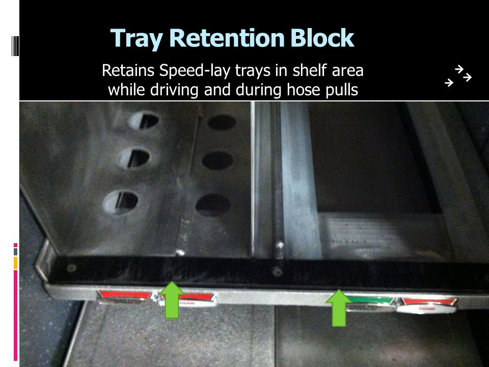Tray Retention Block Retains Speed-lay trays in shelf area