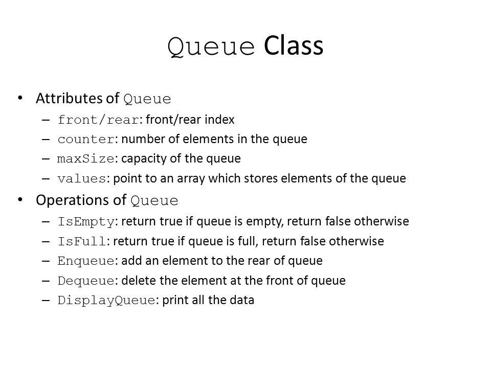Queue Class Attributes of Queue Operations of Queue