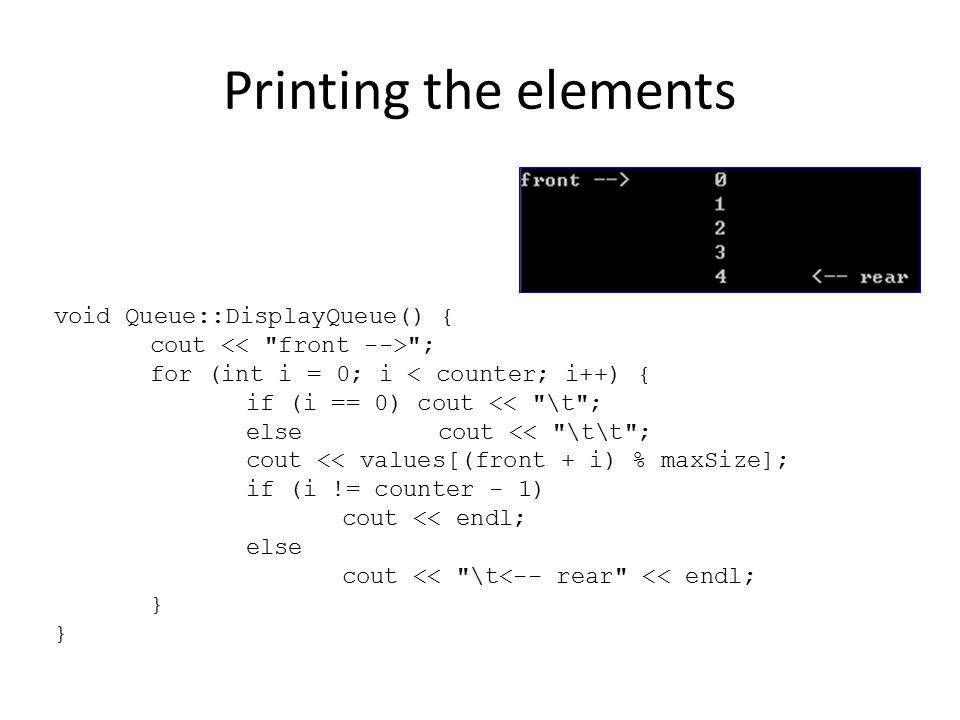 Printing the elements void Queue::DisplayQueue() {