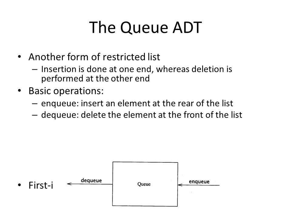 The Queue ADT Another form of restricted list Basic operations: