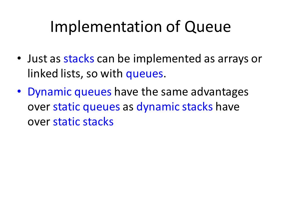 Implementation of Queue