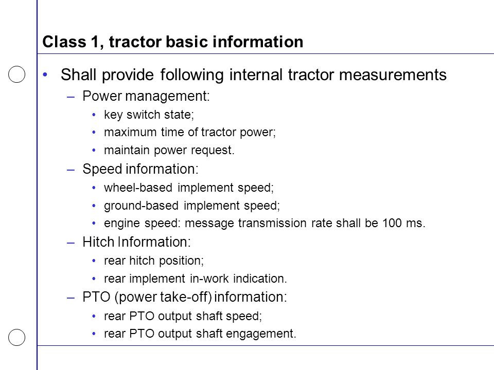 Class 1, tractor basic information