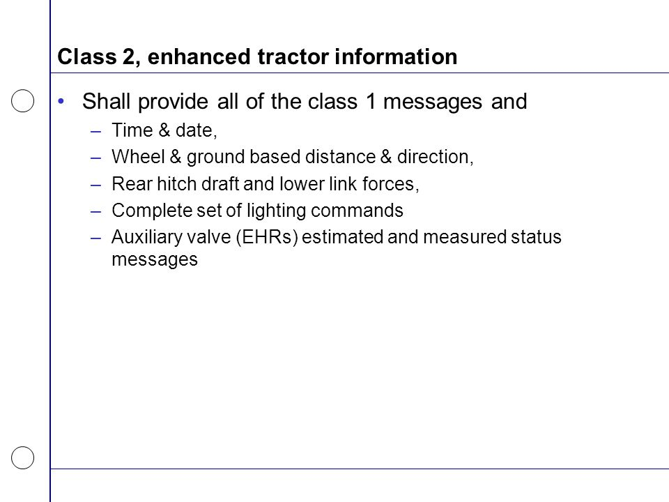 Class 2, enhanced tractor information