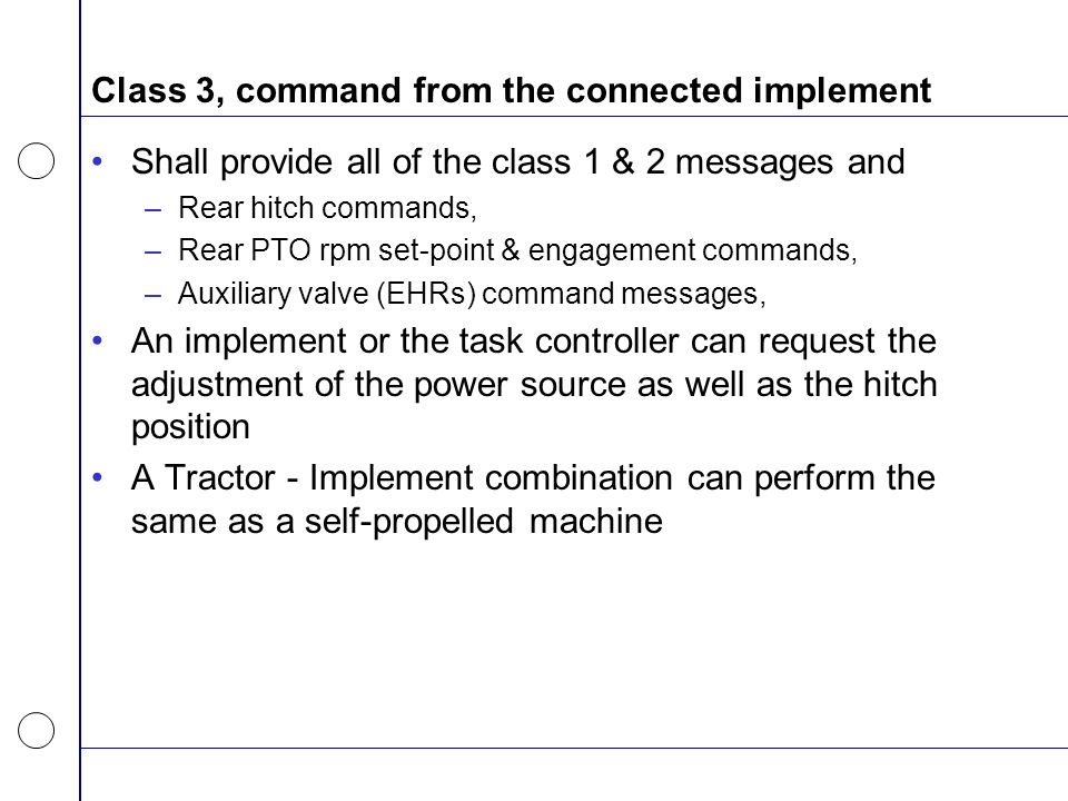 Class 3, command from the connected implement