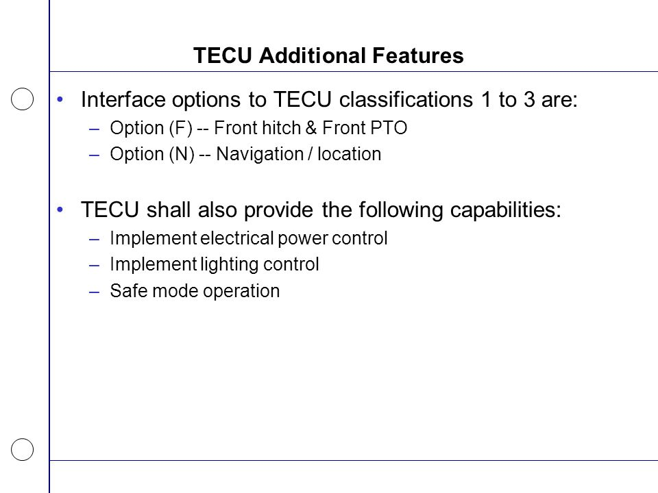 TECU Additional Features