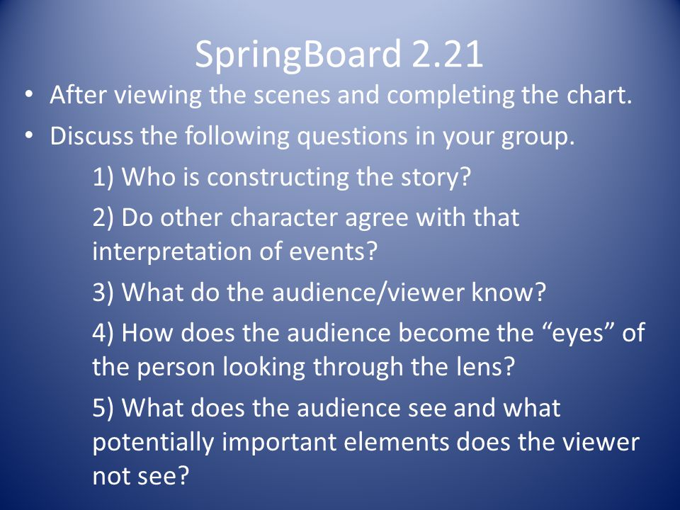 SpringBoard 2.21 After viewing the scenes and completing the chart.