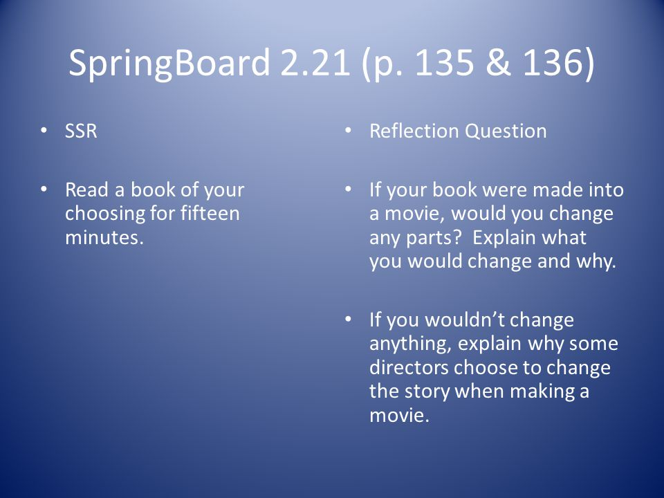 SpringBoard 2.21 (p. 135 & 136) SSR. Read a book of your choosing for fifteen minutes. Reflection Question.