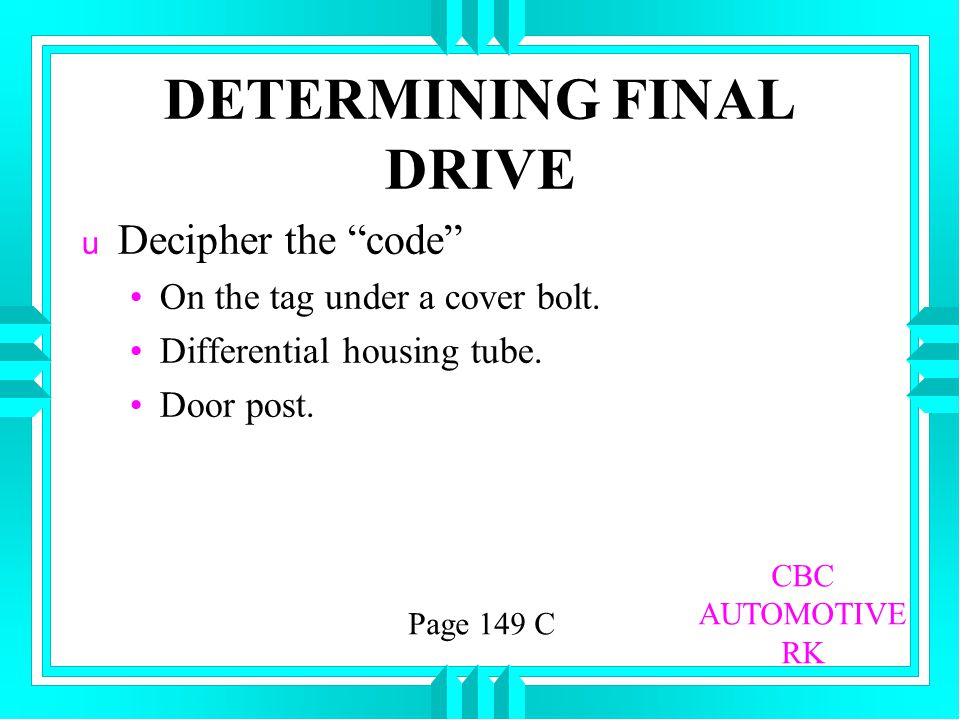 DETERMINING FINAL DRIVE
