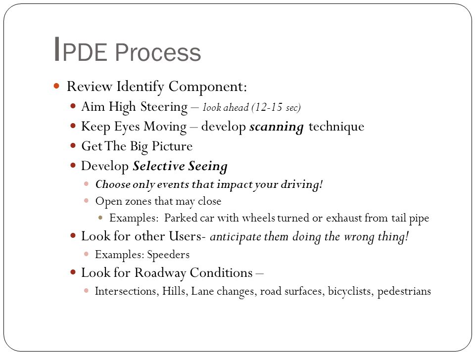 IPDE Process Review Identify Component: