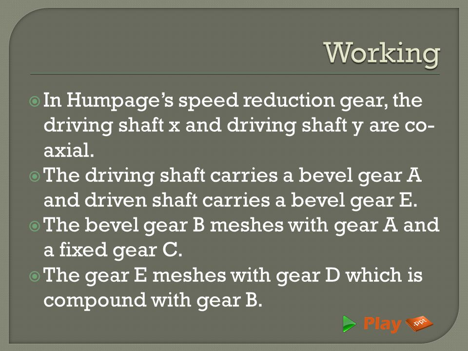 Working In Humpage's speed reduction gear, the driving shaft x and driving shaft y are co-axial.