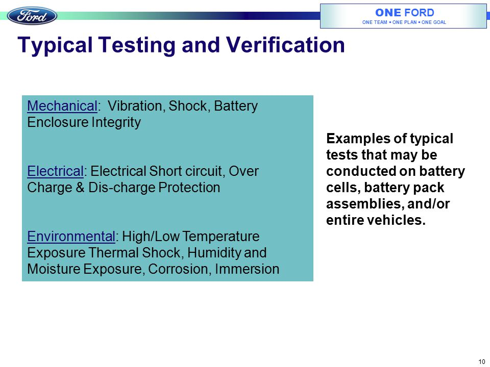 Typical Testing and Verification