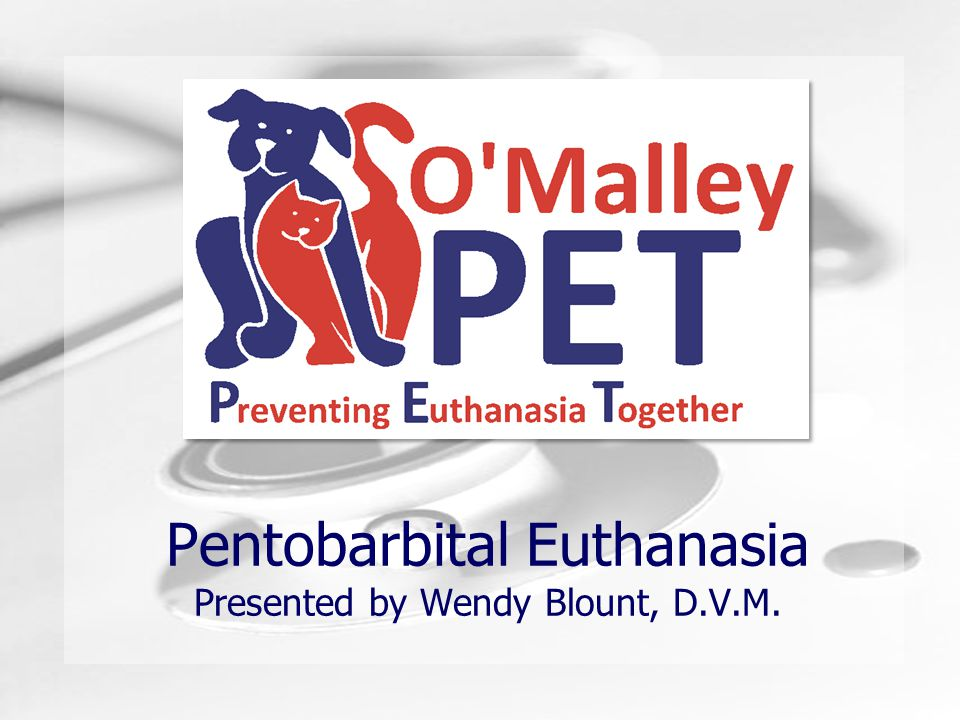 Pentobarbital Euthanasia Presented by Wendy Blount, D.V.M.