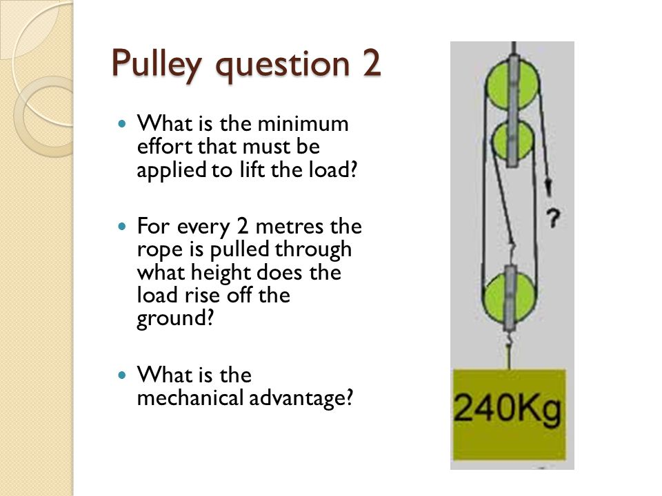 Pulley question 2 What is the minimum effort that must be applied to lift the load