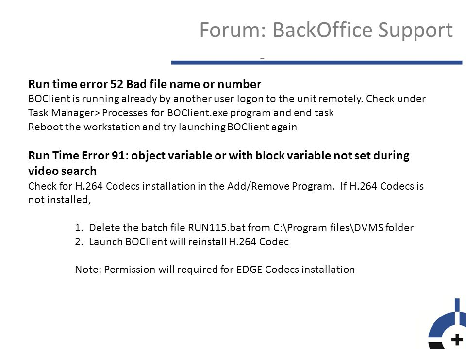 Forum: BackOffice Support