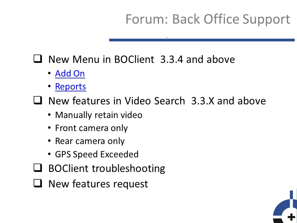 Forum: Back Office Support