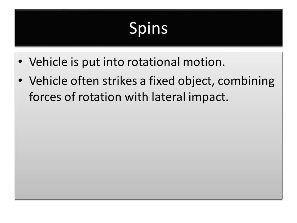 Spins Vehicle is put into rotational motion.
