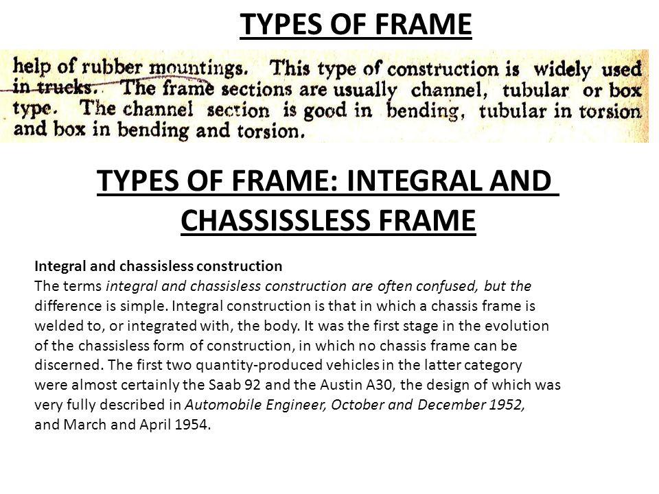 TYPES OF FRAME: INTEGRAL AND