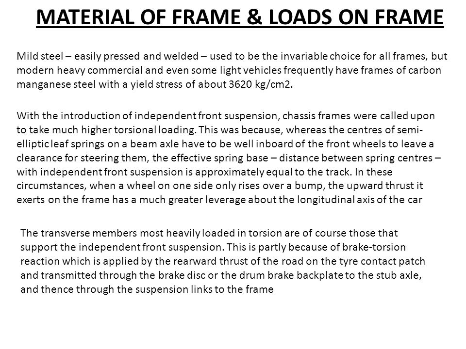 MATERIAL OF FRAME & LOADS ON FRAME