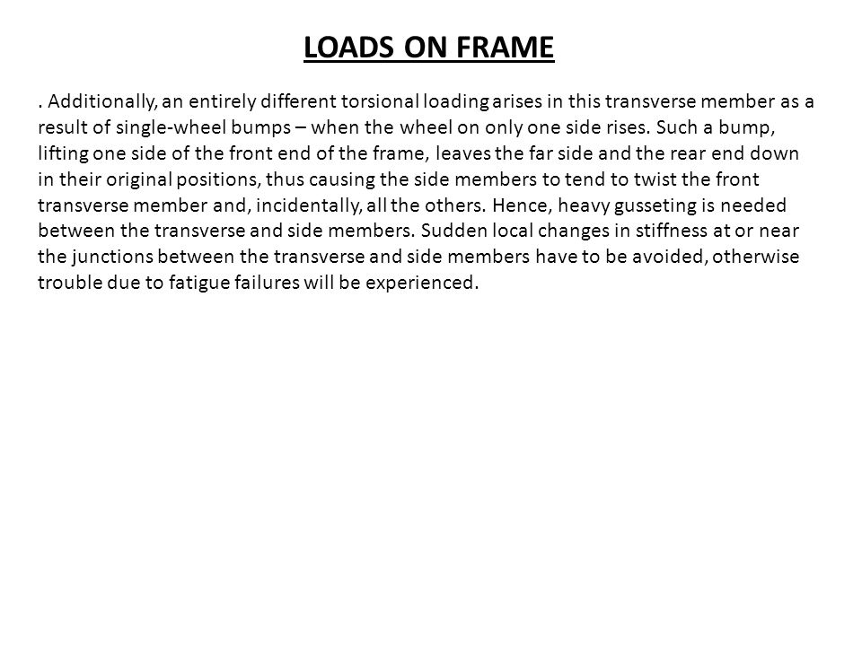 LOADS ON FRAME