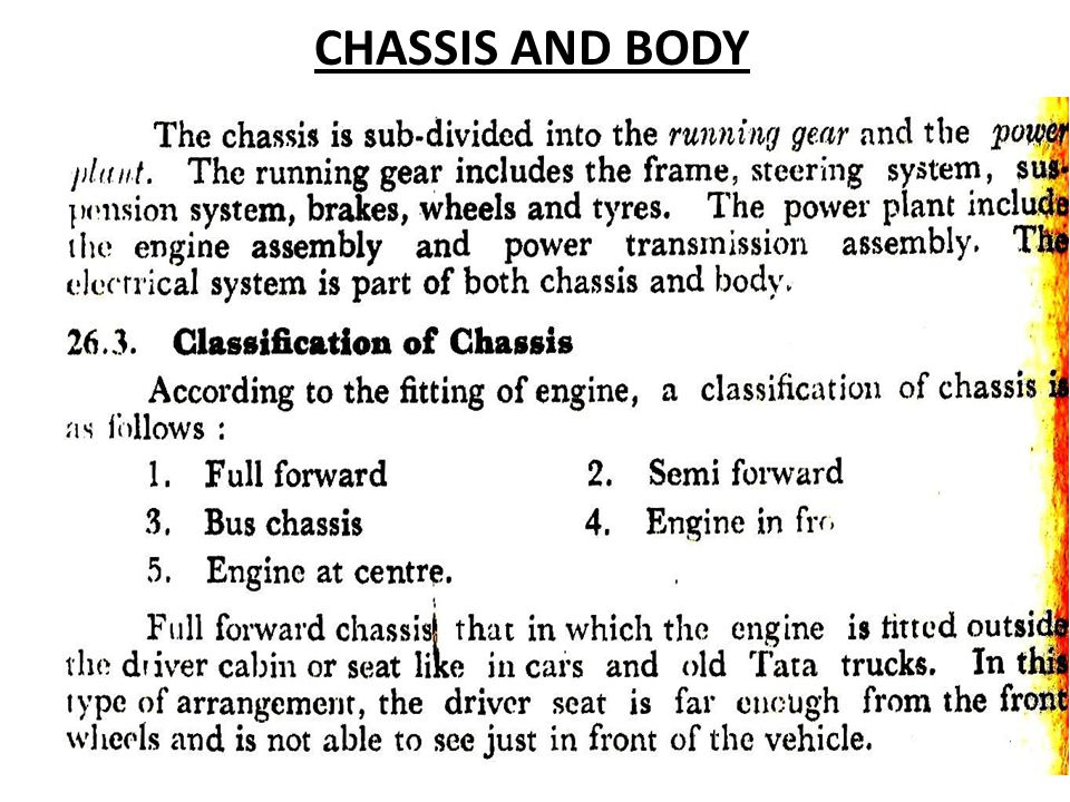 CHASSIS AND BODY