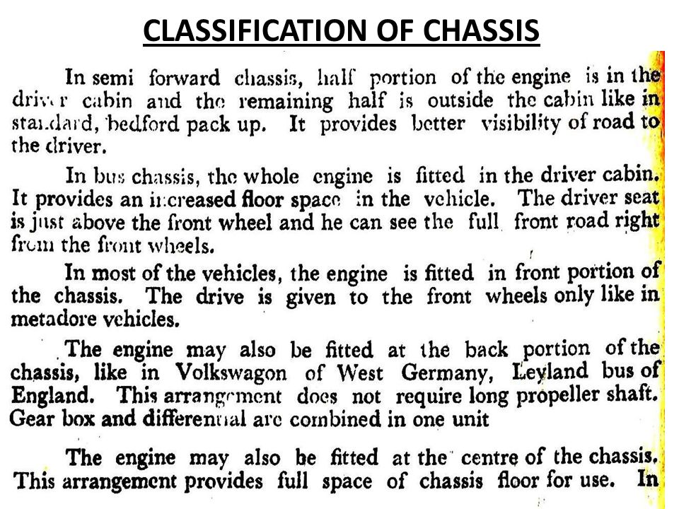 CLASSIFICATION OF CHASSIS
