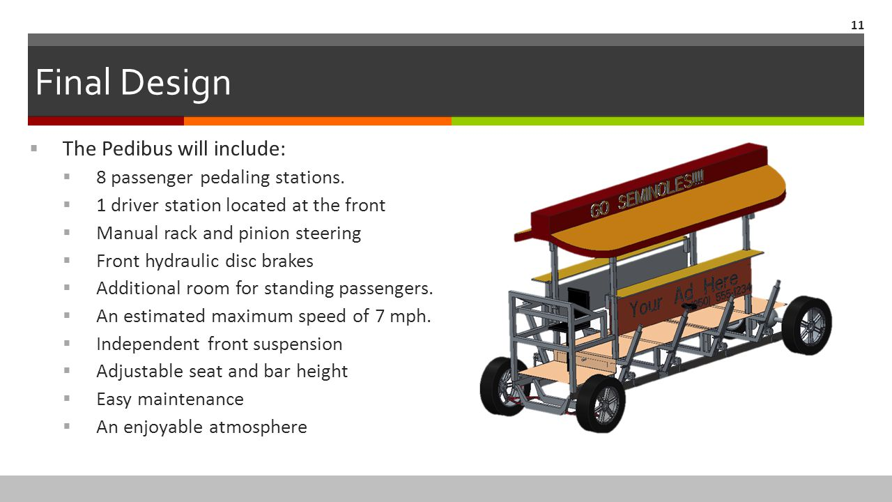 Final Design The Pedibus will include: 8 passenger pedaling stations.
