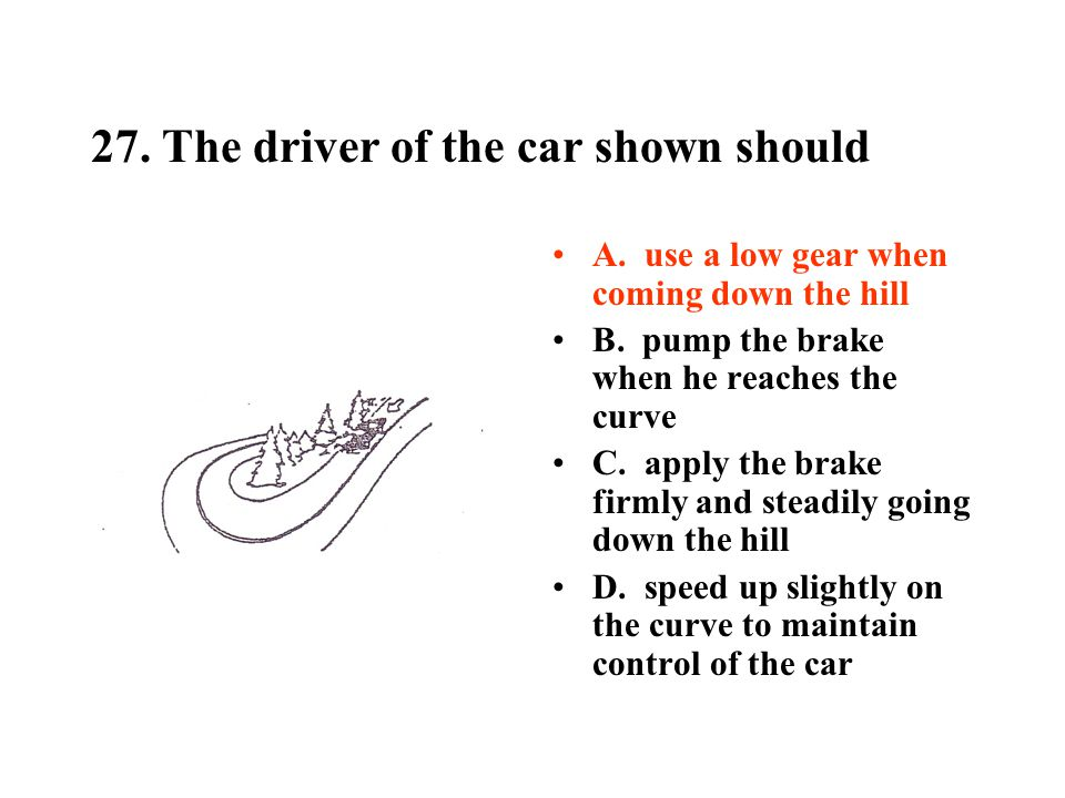 27. The driver of the car shown should