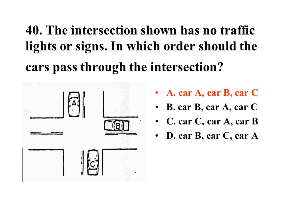 40. The intersection shown has no traffic lights or signs